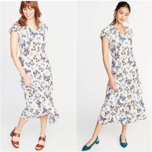 Old Navy XS Butterfly Ruffle Maxi Dress White